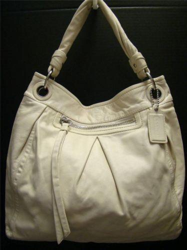 ba5e4fff2c Coach 13411 White Beige Leather Handbag MSRP  358 Mushroom Purse Hippie  Hobo Bag Selling for  90!