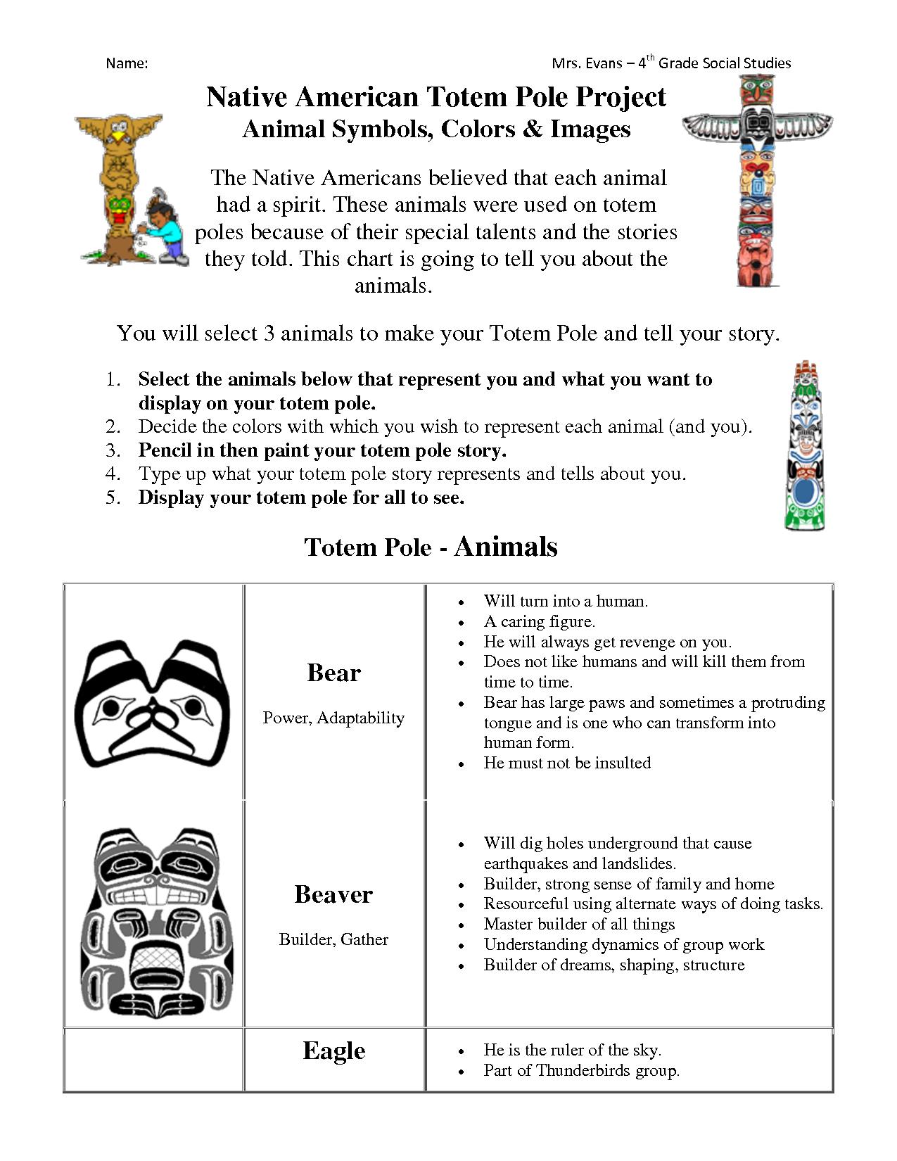 totem poles worksheet   Native american totem poles [ 1650 x 1275 Pixel ]