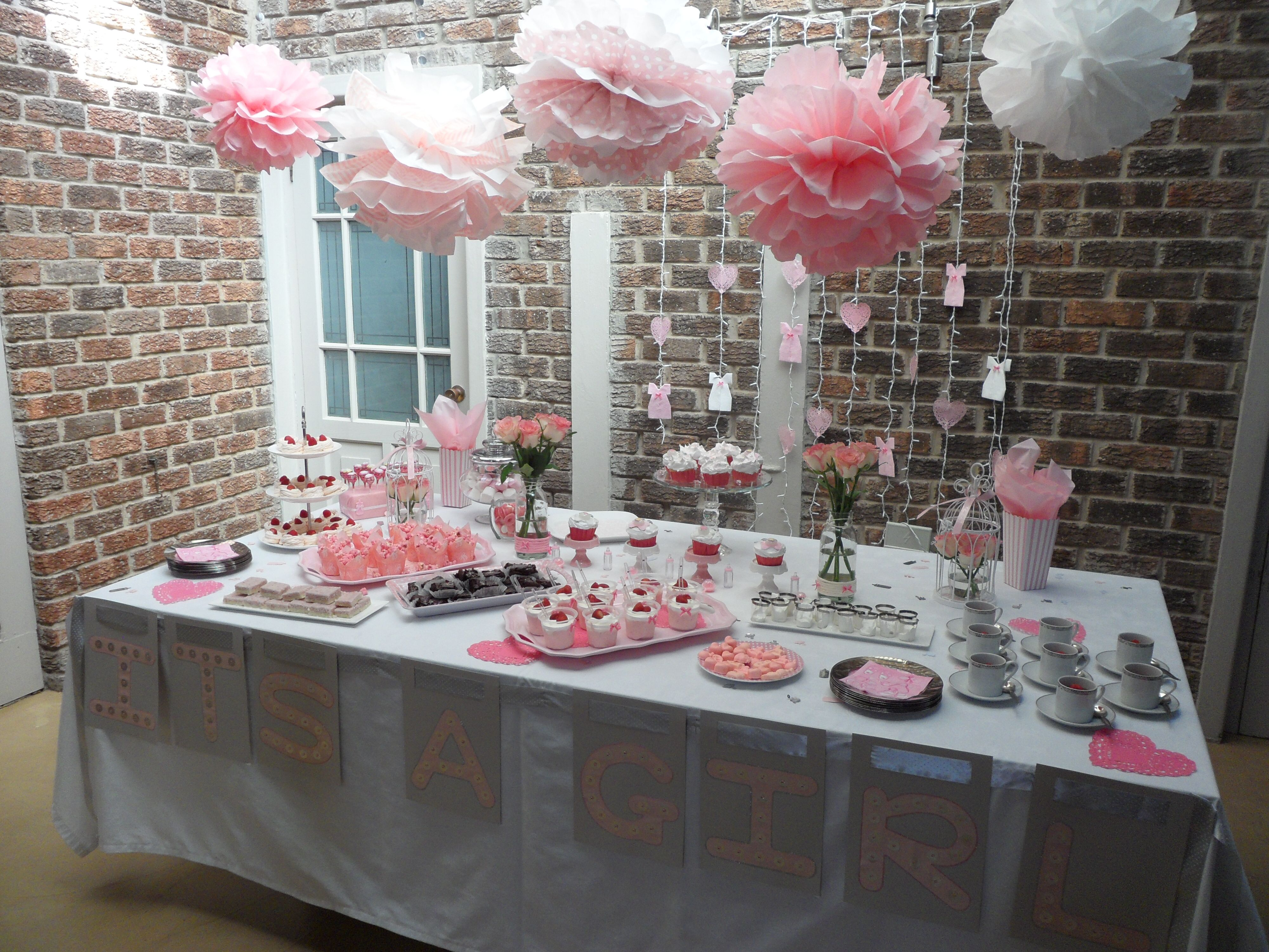 Girls baby shower and tea party with Pom-poms