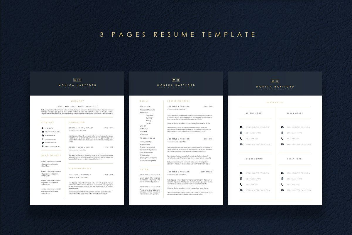 Ad 3 Pages Elegant Resume/CV Template M by Showy68