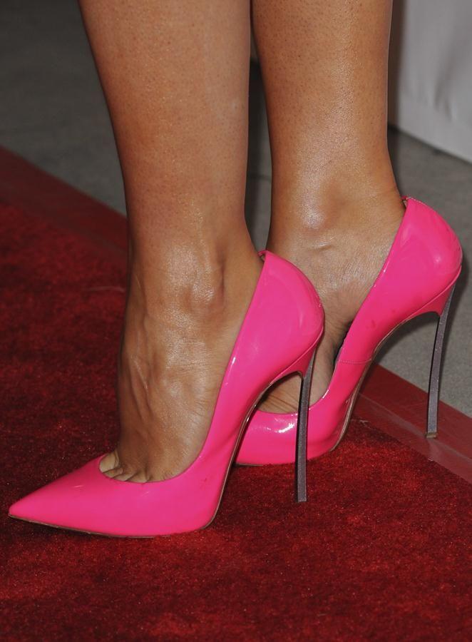 "45c0280d563 Stana Katic wearing hot pink Casadei ""Blade"" sky-high pumps"