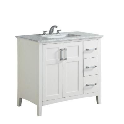 Simpli Home Winston 36 In Vanity In White With Marble Vanity Top