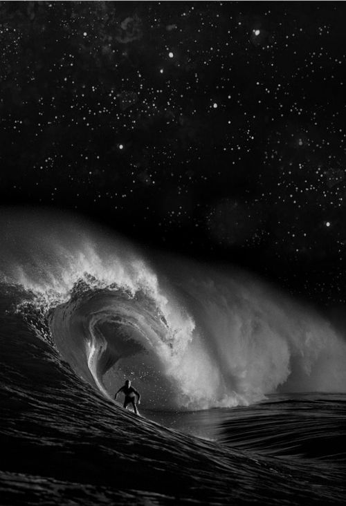 I don't know which is more mesmerizing, the wave and surfer or all the stars in the sky.