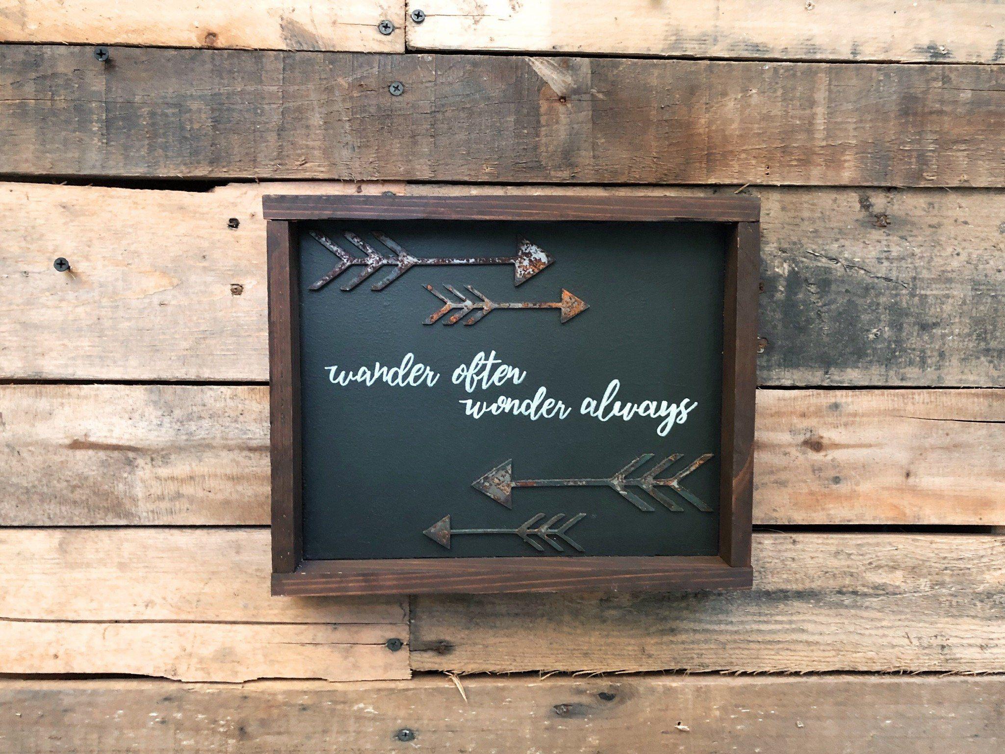 Wander Often Wonder Always Framed Wood Sign Modern Home Decor Motivational Wood Sign Inspirational Sign Rustic Sign Rustic Decor Wood Frame Sign Inspirational Signs Rustic Signs