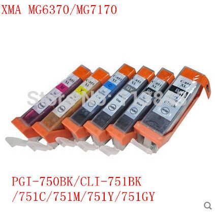 18 Ink Pgi 750bk Cli 751bk C M Y Gy 6 Color Compatible Ink