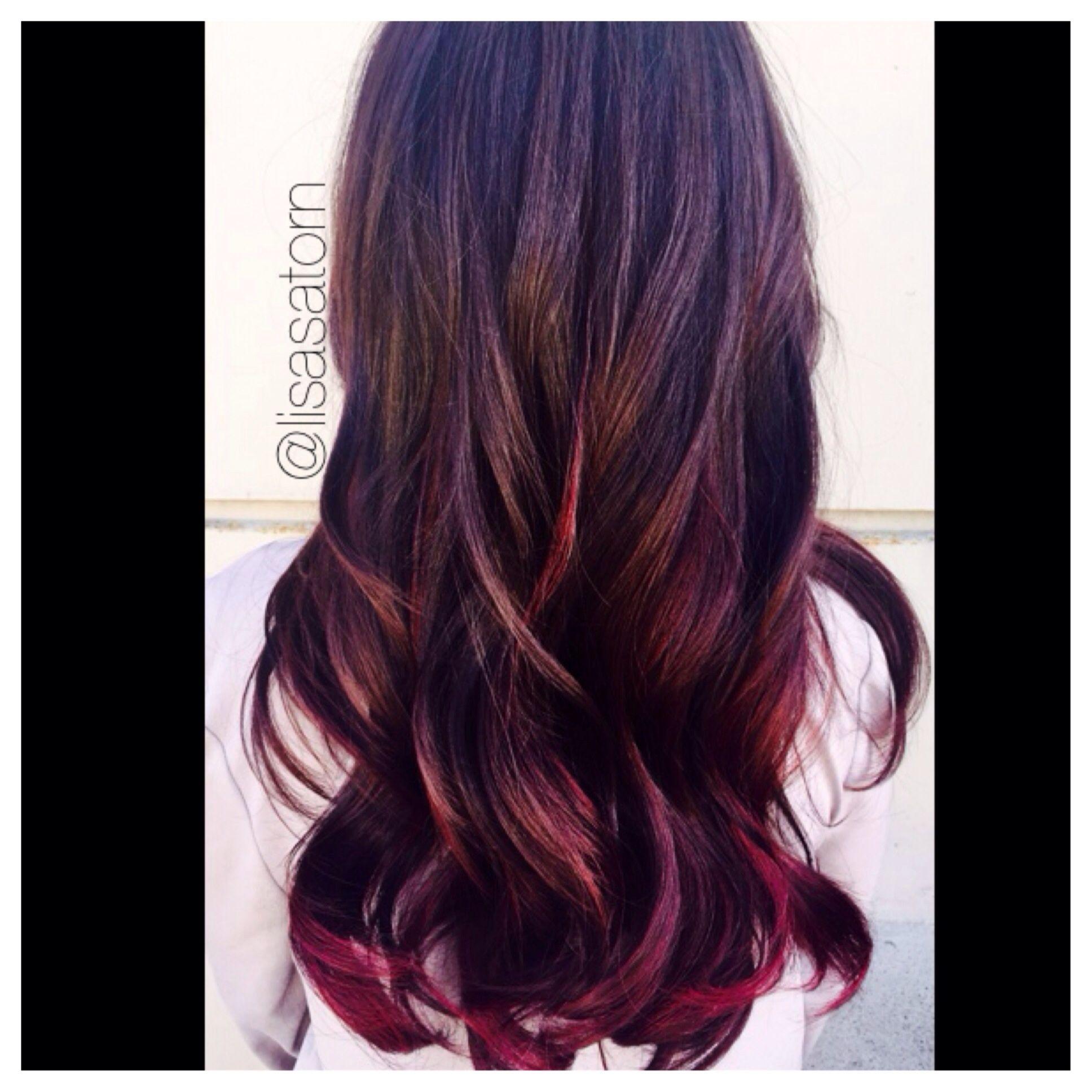 Red Violet Highlights Hair Extension Dark Red Hair Berry Hair