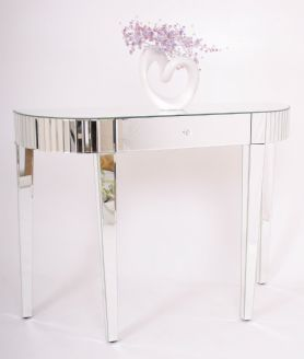 Superior Contemporary Mirrored Venetian Glass Half Moon Dressing Table