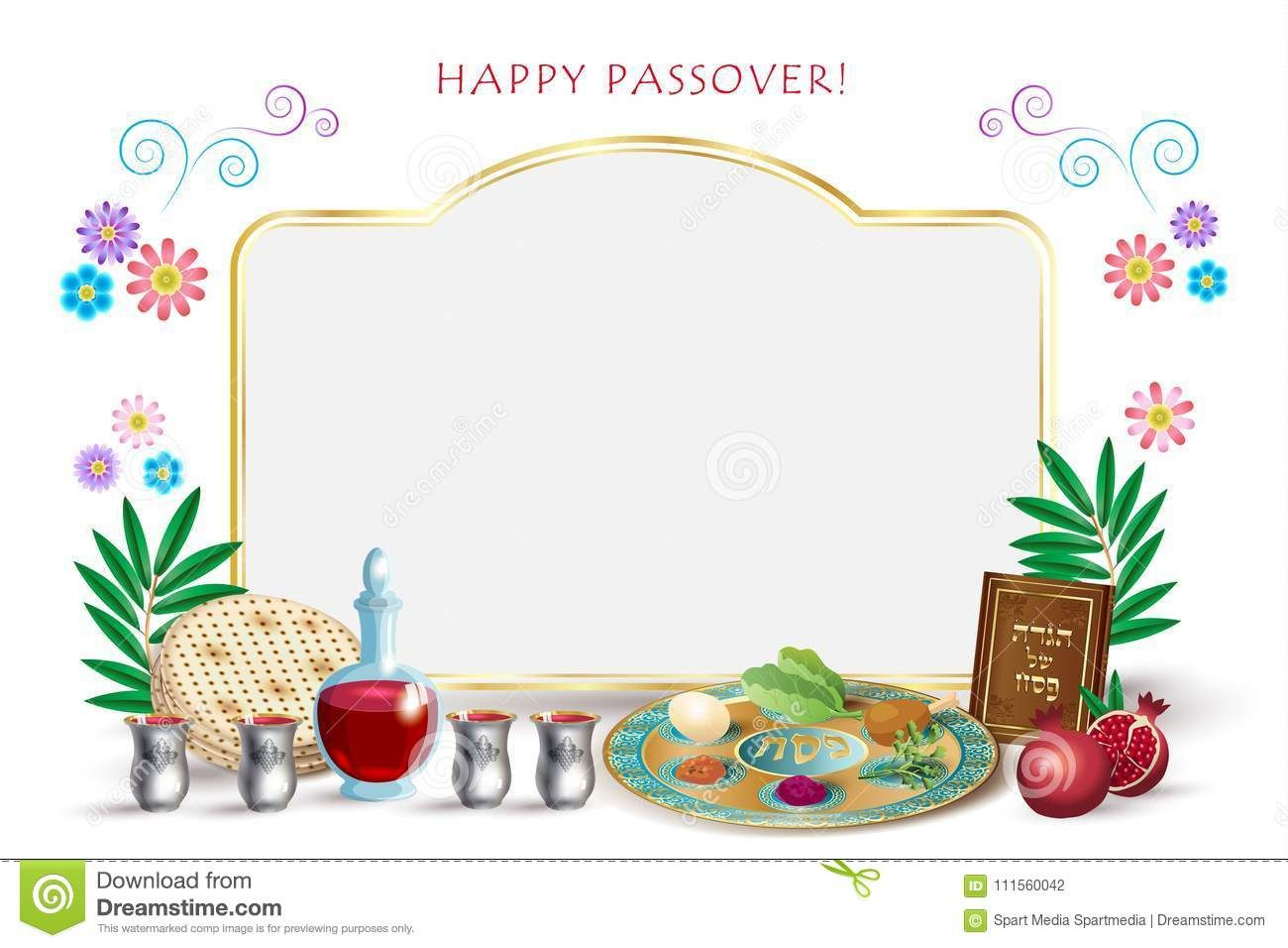2018 Happy Passover Lettering Jewish Holiday Symbols Icons Set