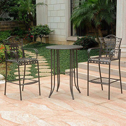 This 3 Piece Bar Height Patio Bistro Set Comes With One Round Table And