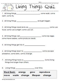living things quiz slesson science worksheets 6th grade science science biology. Black Bedroom Furniture Sets. Home Design Ideas