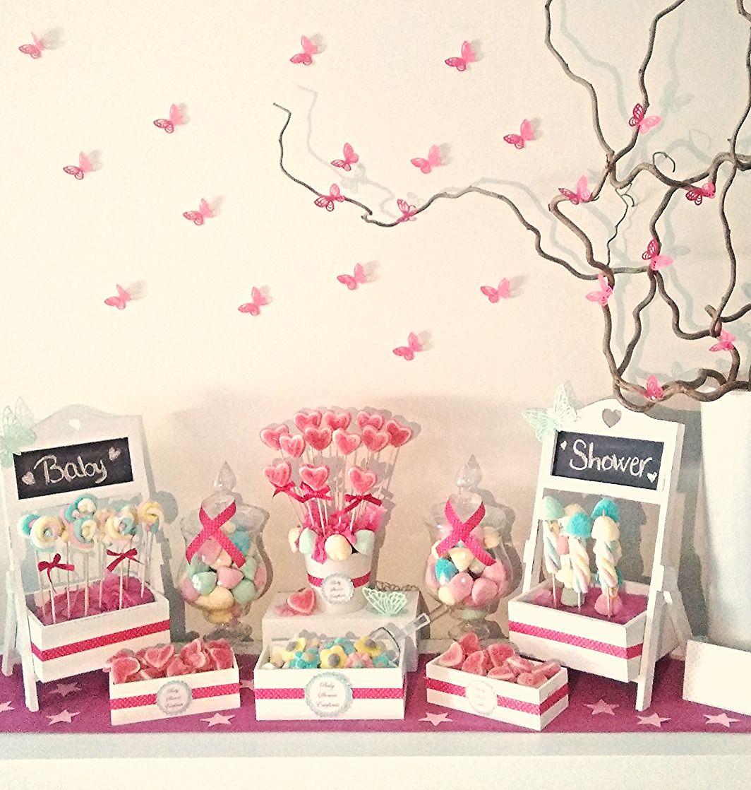 Baby shower con mariposas rosas y estrellas con estilo - Decoracion baby shower nina sencillo ...