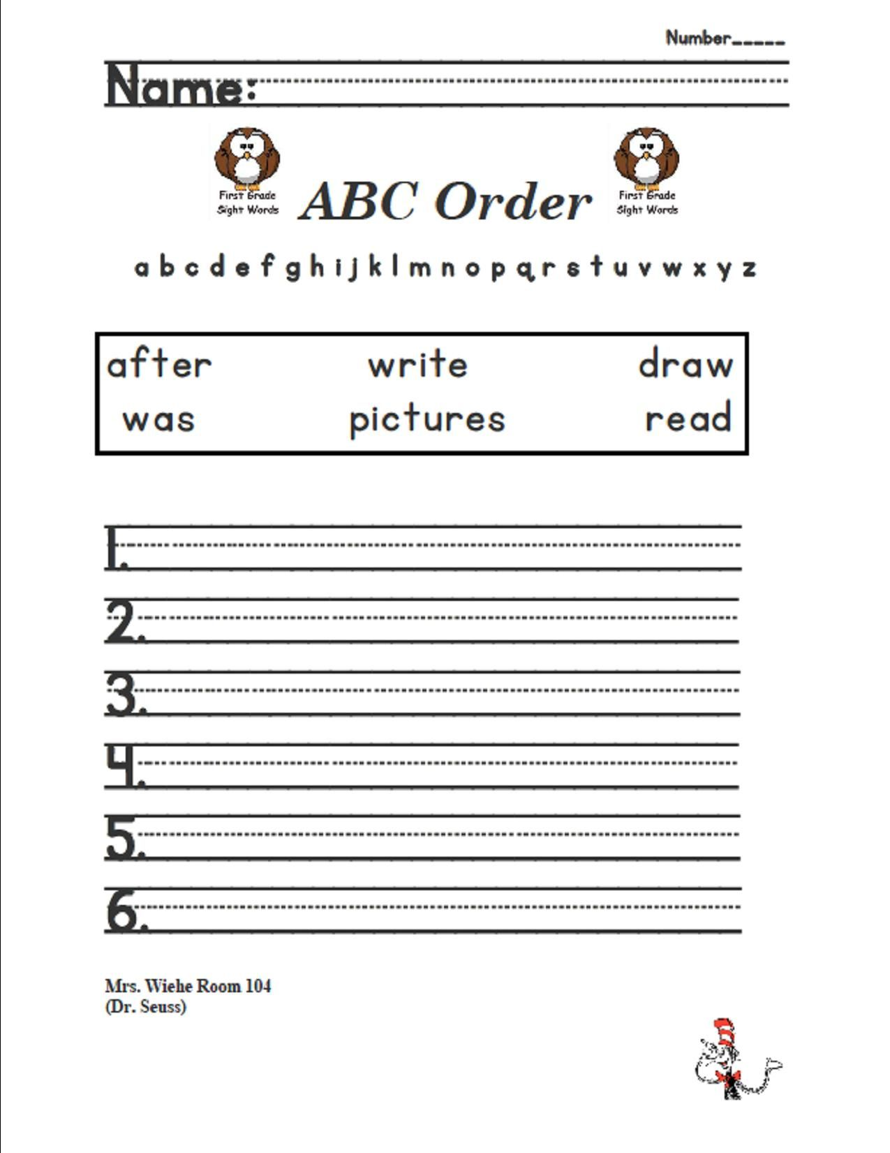Lesson 9 Dr Suess Sight Words Abc Order Journeys 1st