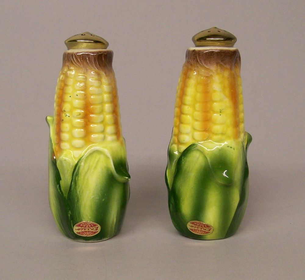 Vintage Enesco Japan Ear Corn Salt Pepper Shaker with Gold Color Tops