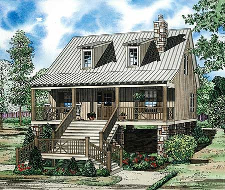 This Raised Cottage House Plan Features An 8u0027 Entry Porch Perfect For  Sitting Outdoors And Watching The Time Go By. The Main Living Space Created  By The ... Ideas