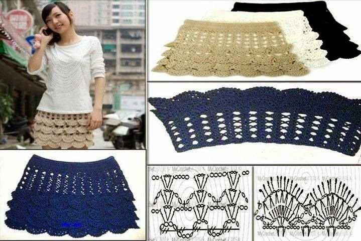 Falda de Crochet con Elastico Patron - Patrones Crochet | Faldas ...