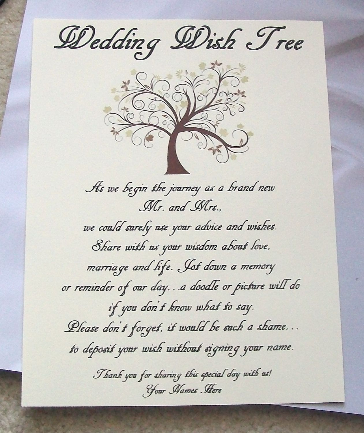 Wishing Tree Tags Instructions Sign Wedding Bridal Shower
