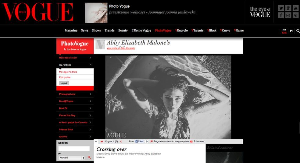 Gage Models & Talent Agency model Emily D. on Vogue Italia