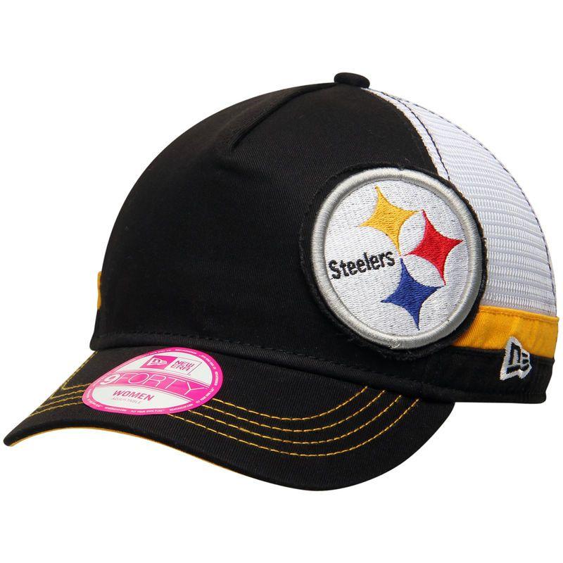 Pittsburgh Steelers New Era Women s Double Over 9FORTY Adjustable Hat -  Black 620eeb5b3