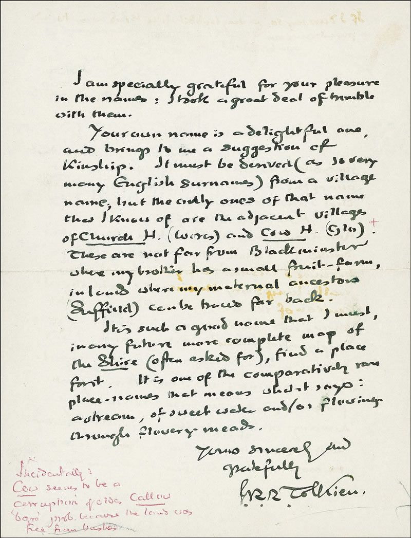 Tolkien Handwritten Letter With JRR Tolkien Signature  Dear Mr