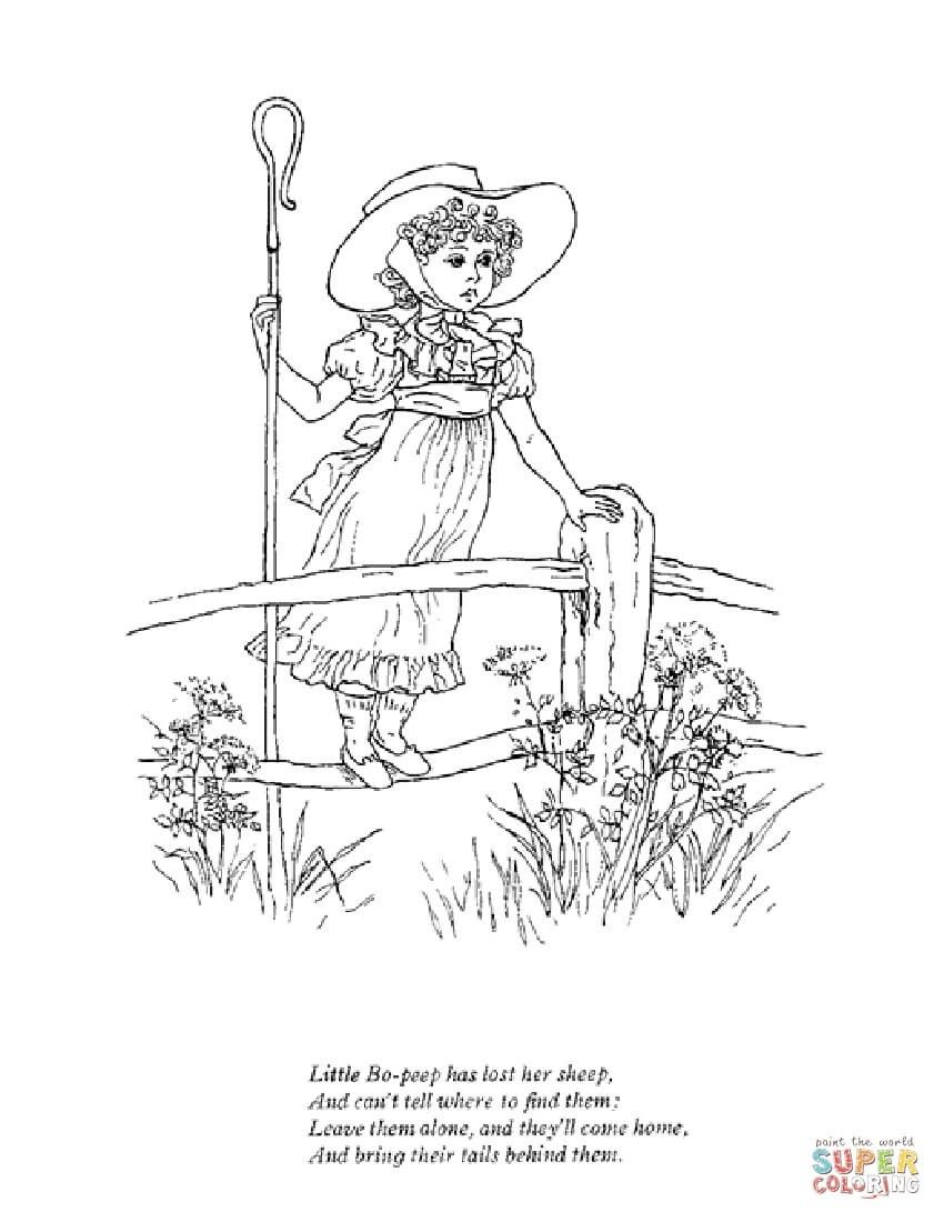 4 Worksheet Color Little Bo Peep Little Bo Peep Has Lost Her Sheep