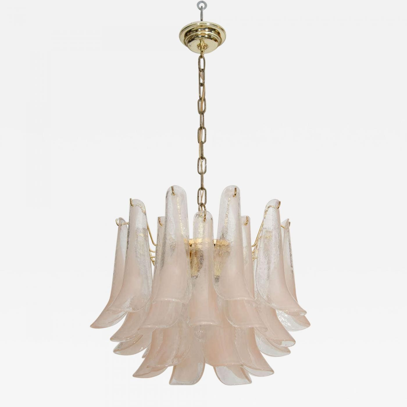 Beautiful Soft Pink and Brass Mazzega Chandelier