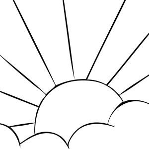 Black And White Color Page Sun Rays Through Clouds