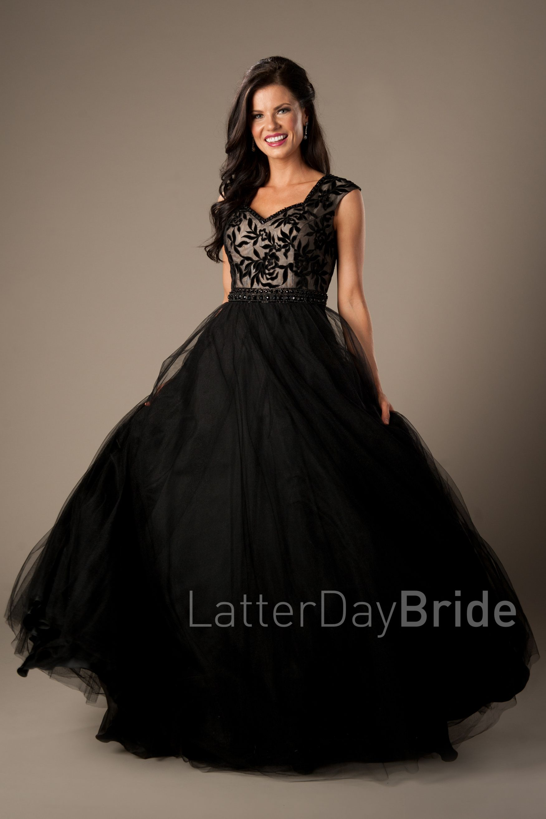 Isabella Modest Black Prom Dress By Latterdaybride Prom This Stunning Modest Ball Gown Features A Flo Prom Dresses Modest Prom Dresses Prom Party Dresses [ 2628 x 1752 Pixel ]