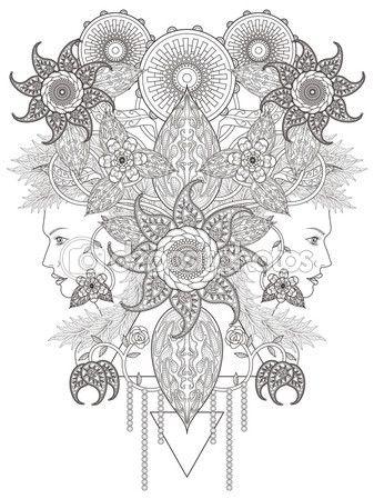 Página para colorear de flores creativo — Vector de stock | Lineart ...