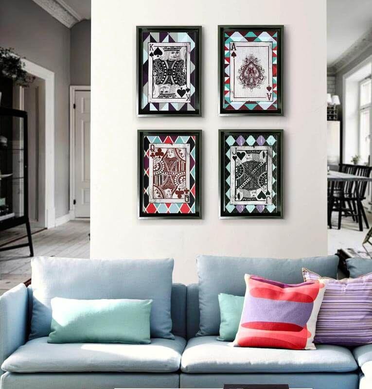 Tienda cuadros con marco modernos cartas de poker - Cuadros para decoracion ...