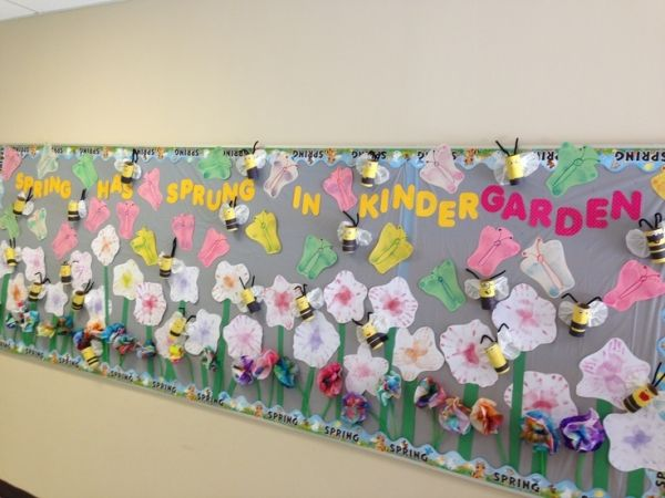 Spring Bulletin Board Toilet Paper Roll Bees Handprint Flowers