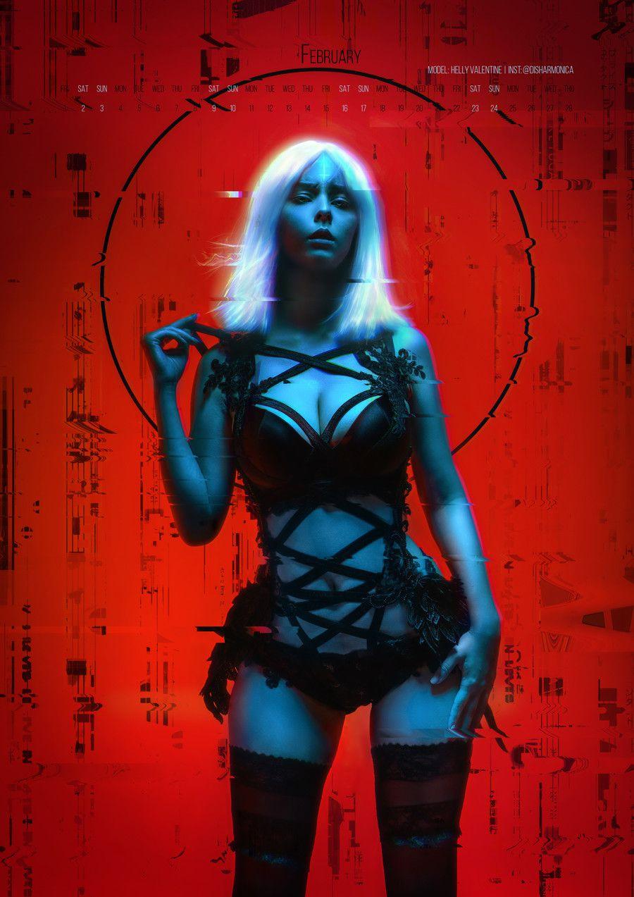ArtStation ⸸ Neon Witches Calendar, Aku 悪 Киберпанк