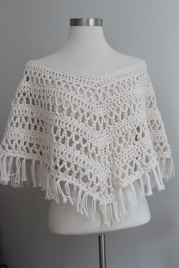 Trendy Cropped Poncho Crochet Lace Top by MySublimeStyle on Etsy ...