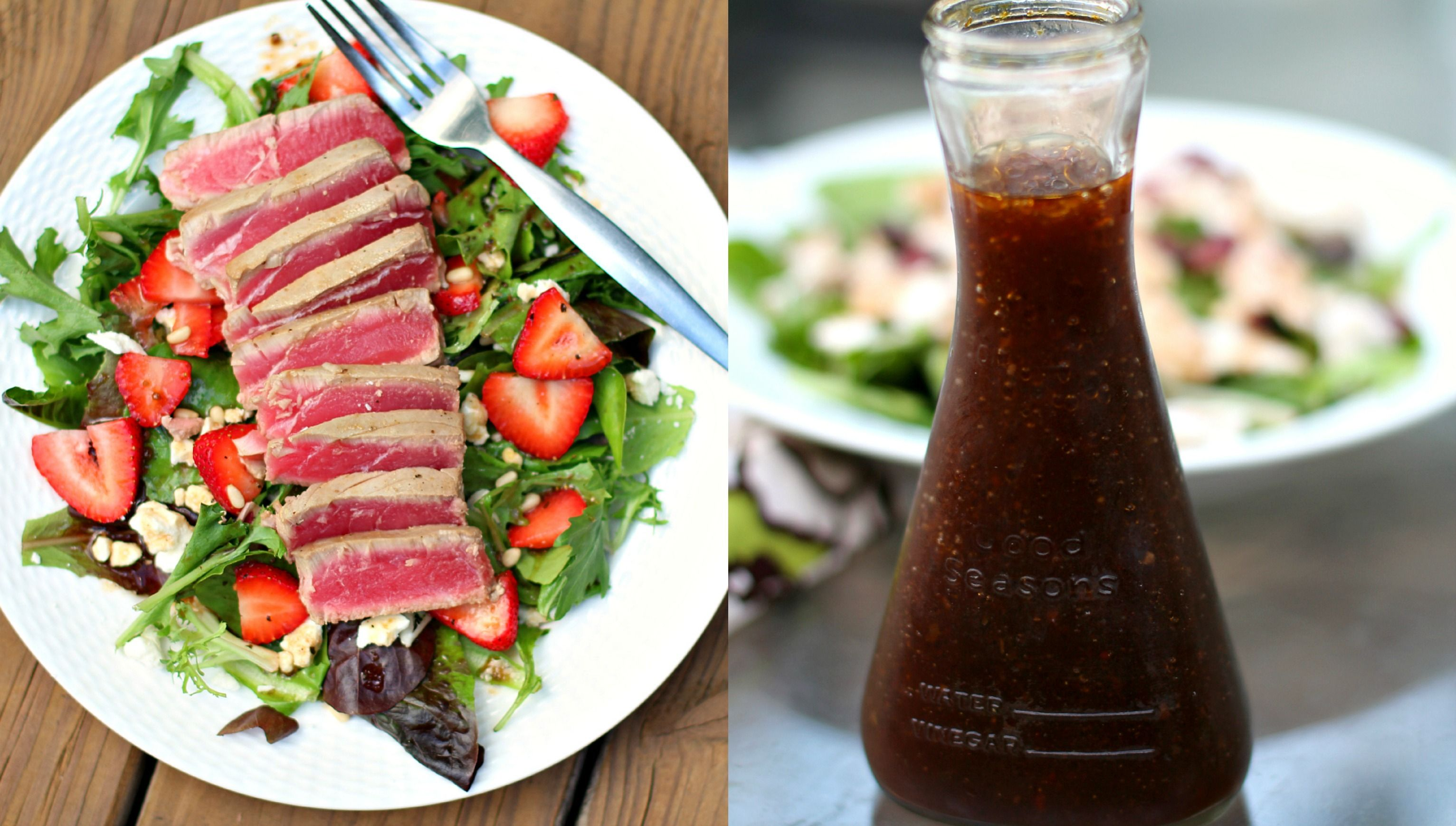 Strawberry Salad with Seared Ahi Tuna and Simple Balsamic Vinaigrette