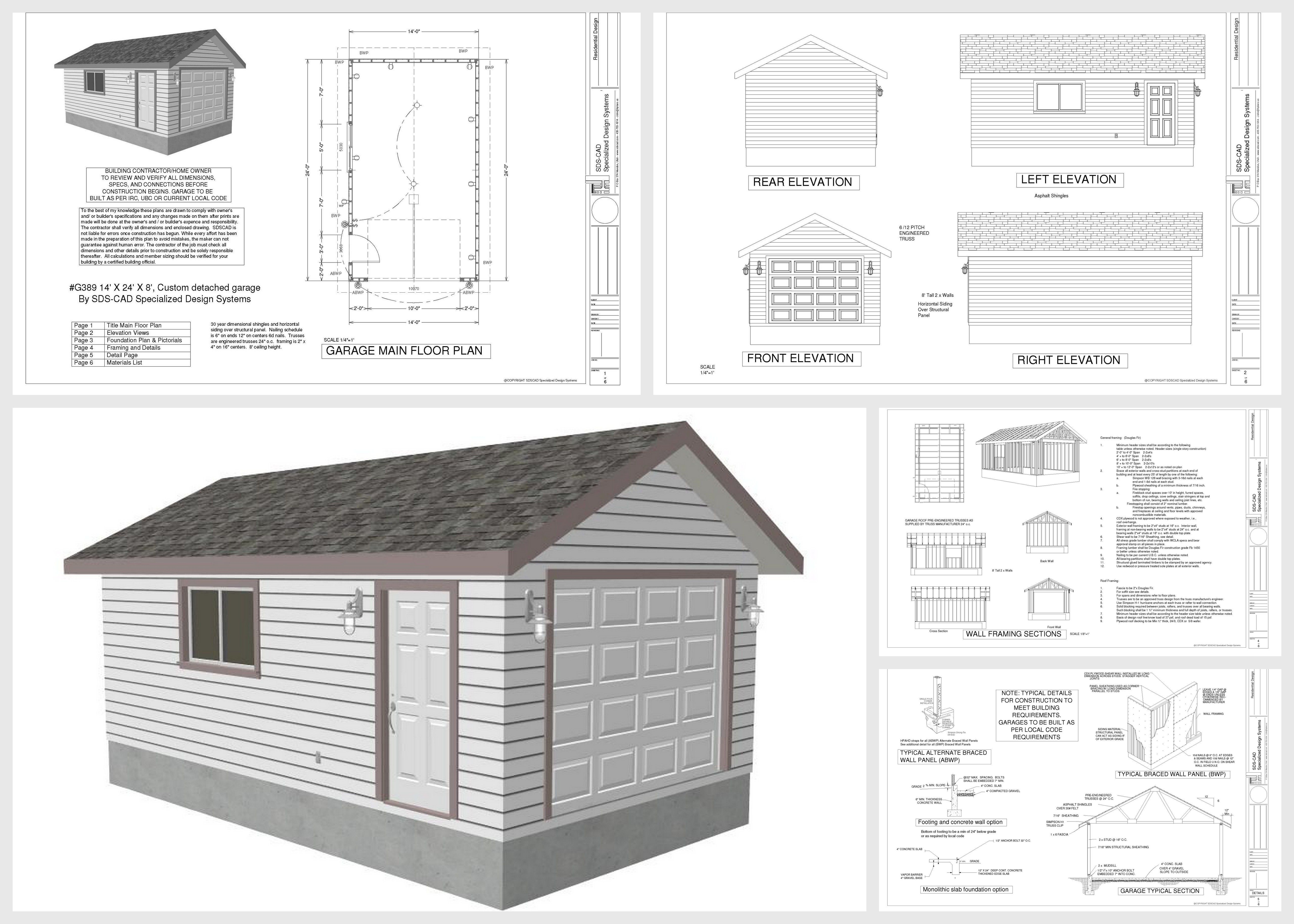 14 X 24 X 8 Garage Plans With Pdf And Dwg Garage Free