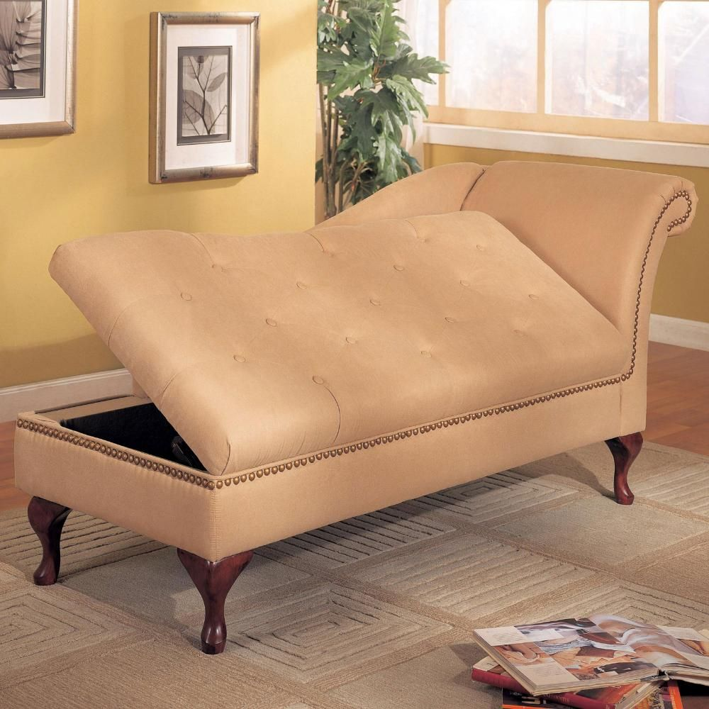 Indoor Double Chaise Lounge Chair Storage Chaise Lounge Storage Chaise Comfortable Chaise