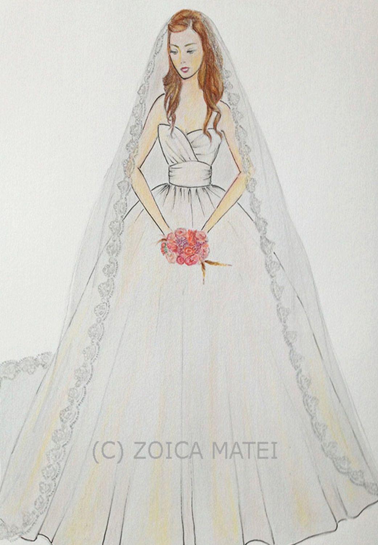 Wedding dress drawing  Custom bride with bouquet portrait bridal paper anniversary bride