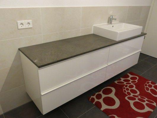 Bad: Waschtisch und DIY Konsole mit Beton Ciré und Ikea Godmorgon ... | {Waschtischunterschrank selber bauen 84}