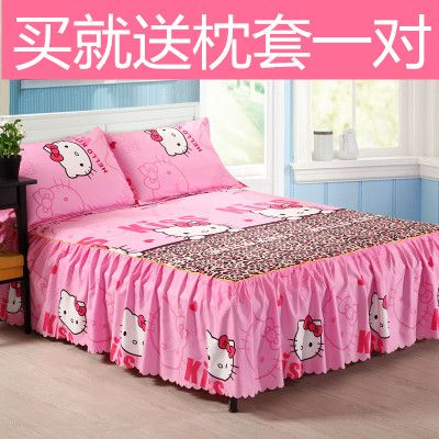 Cartoon kt cat bed cover Kitty cat bed skirt bed cover bed cover bed linen 1.8 / 1.5 / 1.2 m special