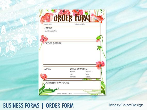 Garden Order Form Template For Home Decor Shops Event Planning