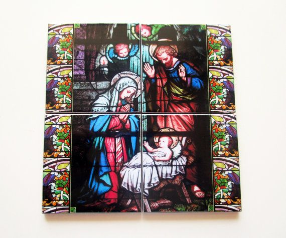 Nativity of Jesus - tile mural mosaic handmade in Italy - a perfect Christmas gift for catholic - catholic gift - nativity set - holy family