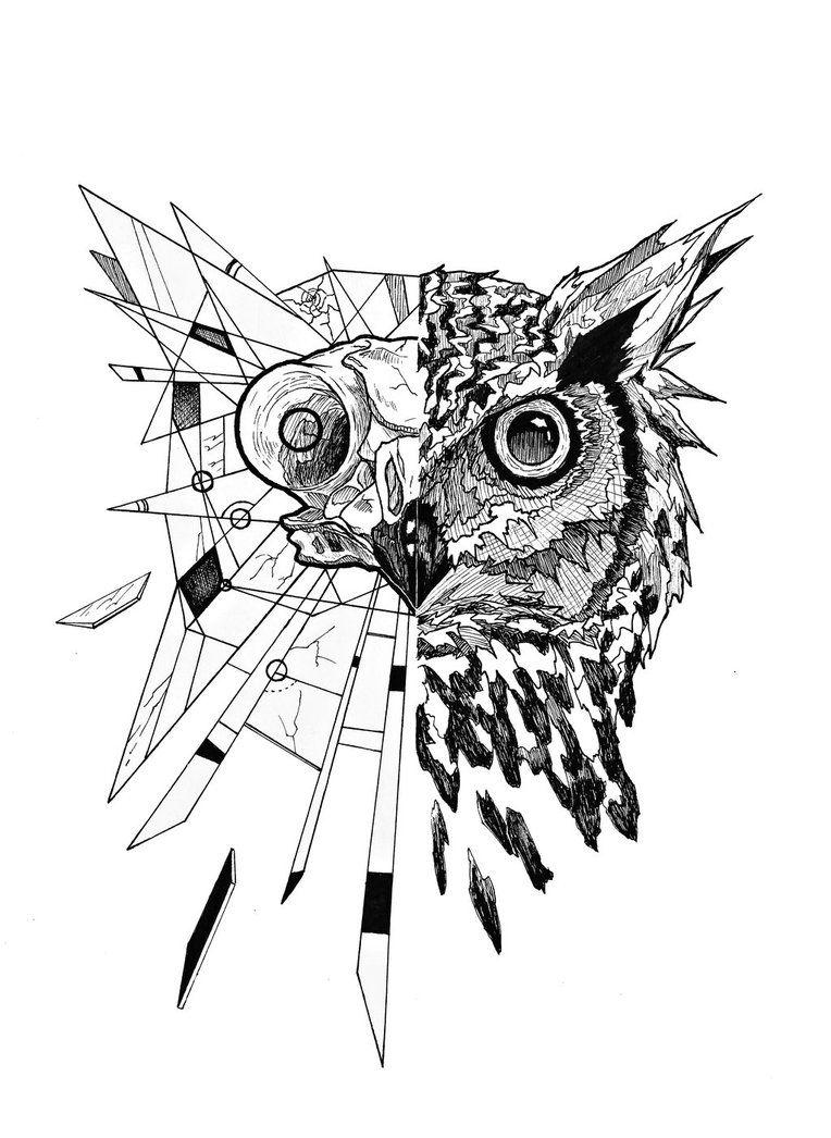 Half Owl Geometric Owl Geometric Owl Tattoo Owl Tattoo Design