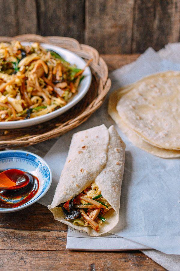 moo shu chicken with homemade pancakes  recipe  food