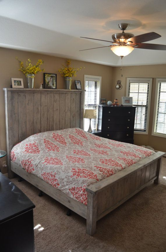 Rustic bed Farmhouse bed King size bed Weathered grey by OnceWood