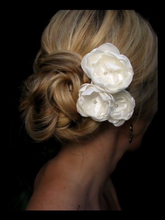 Kate bridal hair flowers, ivory satin flowers with ...