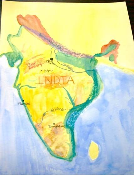 watercolor map of India. Ancient India block.