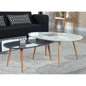 Stone Lot De 2 Tables Basses Blanc Et Gris Laque Table Basse Table De Salon Table Basse Blanc