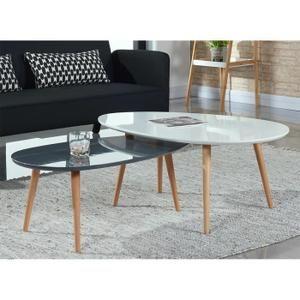 Cdiscount Table De Salon | Stone Lot De 2 Tables Basses Blanc Et Gris Laque Achat Vente