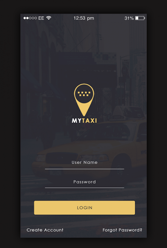 Taxi App Login screen My Taxi App UI Design Is A Uber And