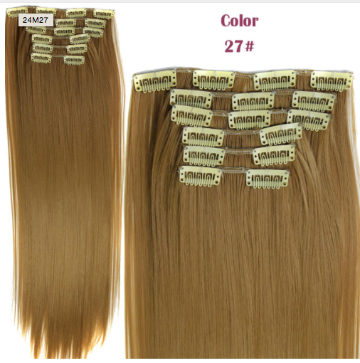 Buy 1 Get 1 Hairpiece 23inch 140g Straight 16 Clips in False Hair Styling Synthetic Clip In Hair Extensions 6pcs/set Heat Resistant Hair Pad