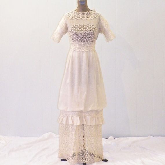 Early 1900s Wedding Dress Vintage 1910s Edwardian Cotton Lace With Half Slip By